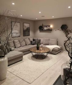 Classy Living Room, Living Room Decor Cozy, Living Room Grey, Home Living Room, Apartment Living, Cozy Apartment, Living Room Candles, Apartment Goals, Grey Room