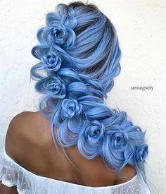 Blue Wigs Lace Frontal Hair Cher Wig Cheap Wigs Near Me Perm Wig – xxshoop Hair Dye Colors, Cool Hair Color, Cool Braid Hairstyles, Pretty Hairstyles, Updo Hairstyle, Protective Hairstyles, Wedding Hairstyles, Rose Braid, Wig Styling