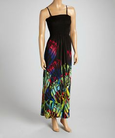 Another great find on #zulily! Blue & Black Butterfly Smocked Maxi Dress by Shoreline #zulilyfinds