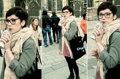 My Chanel Bag Is At Home., Monsoon Knitted Scarf, H Grey Boyfriend Blazer, American Apparel Vintage Glasses