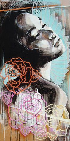 """Let Fate Lead the Way"", Danny O'Connor (acrylic, emulsion, correction fluid, spray paint on canvas)"