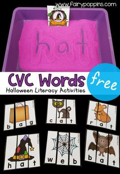 These FREE kindergarten literacy activities help kids practice CVC words in engaging ways.  Kids can explore Halloween CVC words using a sensory tray, puzzles, word mat or worksheet.#kindergartenliteracy #firstgradeliteracy #cvcwords #kindergartencenters #firstgradecenters #halloweencenters