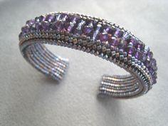 Crystal herringbone Bangle Pattern at Sova-Enterprises.com Lots of free beading patterns and tutorials on this site!