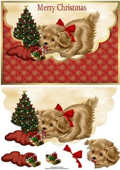 Cute Christmas Puppy Envelope Card With Decoupage By Wendy Jones Christmas Sheets, Christmas Puppy, 3d Christmas, Christmas Pictures, All Things Christmas, Decoupage Vintage, Decoupage Paper, 3d Cards, Xmas Cards