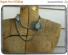 PULL ME. Vintage pully upcycled necklace Huge chunky Metal industrial statement assemblage.