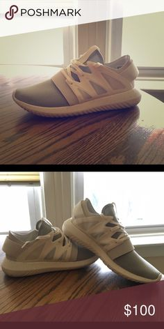 Adidas Tubular Viral. Chalk White. Size 6.5. These are awesome gym shoes and go with everything, but they're a bit too small for me. They run big so they actually fit a size 7. The only sign of wear is on the bottom and I only wore them to the mall. They come without tags and without the box, I threw it out after Christmas. Adidas Shoes Athletic Shoes