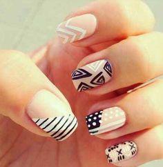 Navy and nude nail art