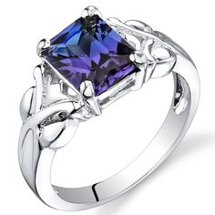 Simulated Alexandrite Ring Sterling Silver Rhodium Nickel Finish 2.75 Carats Size 5