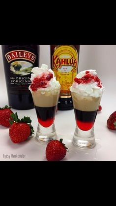 Strawberry Blowjob Shot  - Grenadine  - Kahula Coffee Liqueur - Baileys Irish Cream  - Whipped Cream  - Diced Strawberries