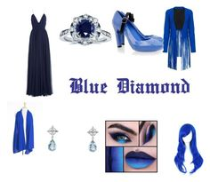 """""""Blue Diamond Closet Cosplay"""" by thecrystalheart on Polyvore featuring ThePerfext, Kobelli, Tiffany & Co., Jenny Packham and UN United Nude"""