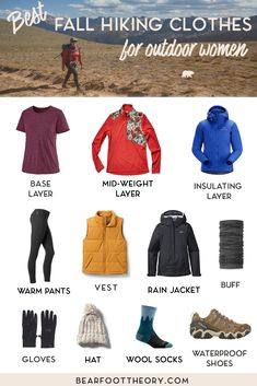 Learn what to wear hiking in fall with our checklist of the best fall hiking clothes for women that are breathable, wick sweat, keep you warm AND look good. Summer Hiking Outfit, Hiking Wear, Hiking Shoes, Hiking Sandals, Capsule Wardrobe, Winter Outfits, Summer Outfits, Sport Outfits, Backpack Outfit