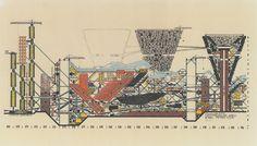 Peter Cook (Archizoom) Maimum Pressure Area, Plug-In City, 1962-64 British Architecture, Paper Architecture, Architecture Drawings, Architecture Models, Landscape Architecture, Factory Architecture, Conceptual Architecture, Sustainable Architecture, Architecture Details
