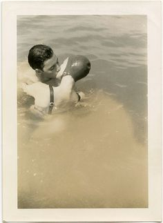 vintage couple in water cap