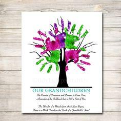 Grandparents Day Poem, Grandparent Gifts, Thumbprint Tree, Handprint Art, One Tree, Grandkids, Grandchildren, Text Color, Trees To Plant