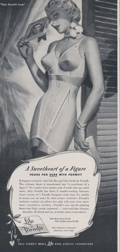 1950 Formfit Life Bra & Girdle Ad Pin-Up Black and by AdVintageCom