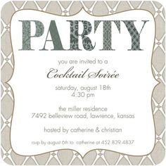 Party Invitations Posh Patterns