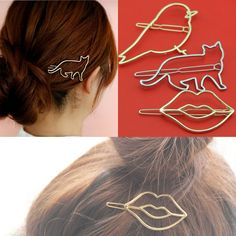 2017 New Hot Sell Fashion Jewelry Gold/Silver Hollow Out Cat/Bird/Lips Hair Pins Clips 00GDB Girl's Lady Women Wholesale Lot