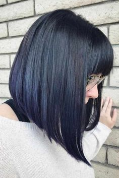 Hair with bangs 20 Modern Ways to Style a Long Bob with Bangs Black Straight Angled Bob With Bangs Long Bob Haircut With Bangs, Bob Hairstyles With Bangs, Long Bob Haircuts, Hairstyles Haircuts, Lob Bangs, Celebrity Hairstyles, Wedding Hairstyles, Lob With Bangs, Haircut Bangs