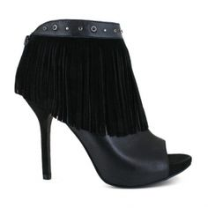 black leather peep toe suede fringe rhinestone ball stud high heel ankle boot bootie