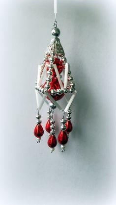 Vánoční+ozdoba+z+foukaných+perel+Lustřík+červený