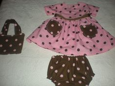 Pink and Brown Polka Dot Baby Dress with pants by hannahberrybird, $65.00