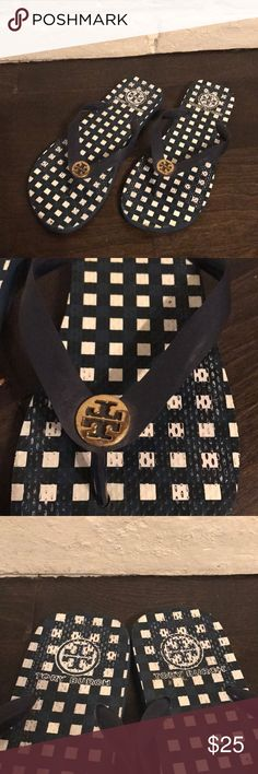 Tory Burch blue flip flops Tory Burch blue flip flops. Used. White square print. Size 6.5. Fair condition. Tory Burch Shoes Flats & Loafers
