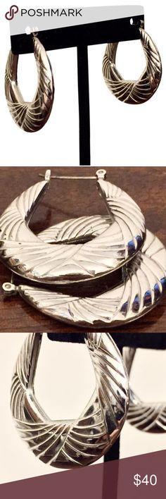 Sterling silver hoop leverback earrings Vintage sterling silver hoop earrings with leverback Jewelry Earrings