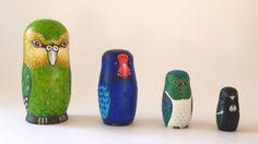 New Zealand's native birds, from left to right are: Kakapo, Takahe, Kereru (NZ wood pigeon) and Tui