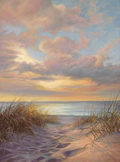 Moment of Tranquility by Lucie Bilodeau ~ sandy path to beach golden grass pastel sunset