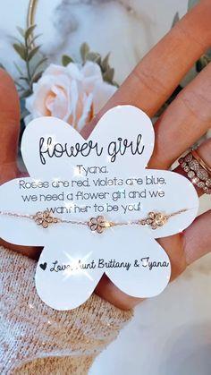 Flower girl gift! Flower girl flower charm bracelet! Rose gold or silver! Personalized! Gift wrap