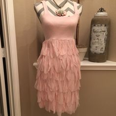 "Vintage Bailey 44 Dress Beautiful pink Bailey 44 dress. Top is soft tank fitted under bust. Bottom of dress is the same & covered with rows of soft chiffon. 23"" from bodice to hem. Never worn & in new condition. It is dry clean only. Bailey 44 Dresses Midi"