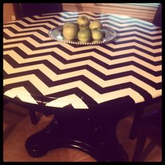 Chevron painted table top! Doing this with Danny and i.s table