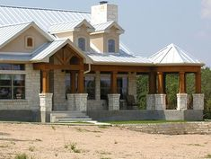 Unique Ranch House w/ Steel Roof & Wrap-Around Porch! (HQ Plans & Pictures) - Metal Building Homes Metal Building Homes, Building A House, Building Ideas, Metal Homes, Stone Homes, Green Building, Barndominium, Country Style House Plans, Traditional House Plans