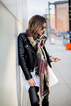 oversized plaid scarf with leather jacket