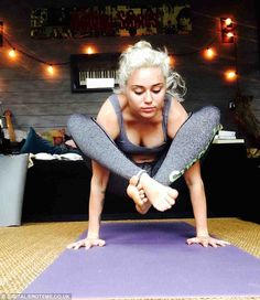 MILEY CYRUS:If the 23-year-old ever gives up her day job as a singer and actress she could always become a yoga teacher. Here, the Hannah Montana star is doing a version of the firefly, a very advanced yoga pose that requires core, wrist and shoulder strength, as well as huge flexibility in the hips. THREE STARS