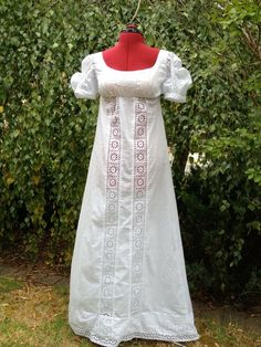 Swiss embroidered cotton Empire style dress custom made by Empireroom