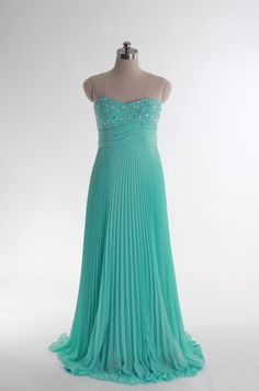 Sweetheart beading bodice A-line chiffon gown.