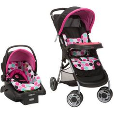 Disney Baby Lift and Stroll Travel System, Black Minnie Dottie, Multicolor