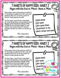 *The Teaching Oasis*: 7 Habits of Happy Kids Flyers Leadership Notebook, Student Leadership, 7 Habits Activities, Healthy Habits For Kids, Habit 1, Habits Of Mind, Seven Habits, Character Education, Physical Education