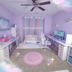 Small Room Design Bedroom, Cute Bedroom Decor, Bedroom Setup, Room Ideas Bedroom, Kawaii Bedroom, Cool Kids Rooms, Pastel Room, Cute Room Ideas, Gaming Room Setup