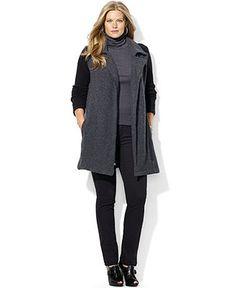 Lauren Ralph Lauren Plus Size Coat, Stretch-Wool Colorblocked - Plus Size Coats - Plus Sizes - Macy's