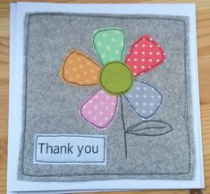 Handmade Thank you card Fabric Cards, Fabric Postcards, Paper Cards, Embroidery Cards, Free Motion Embroidery, Handmade Thank You Cards, Handmade Birthday Cards, Freehand Machine Embroidery, Homemade Greeting Cards