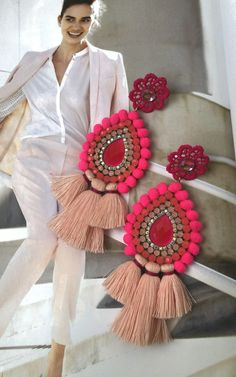 Beaded Tassel Earrings, Soutache Earrings, Pink Earrings, Beaded Jewelry, Handmade Jewelry, Africa Dress, Craft Stick Crafts, Jewelry Patterns, Beaded Embroidery