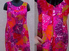 Waltah Clarke's vintage Hawaiian dress watteau pleat bark cloth size M 10 purple #WaltahClarkes