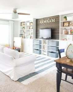 Eclectic Farmhouse Playroom Makeover A boring and cluttered playroom gets a modern eclectic farmhouse makeover on a budget with DIY projects, smart storage solutions, and inexpensive finds. Playroom Design, Playroom Decor, Kid Playroom, Playroom Organization, Sunroom Playroom, Organization Ideas, Modern Playroom, Organized Playroom, Playroom Furniture