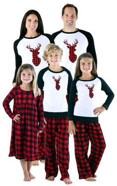 960ca4f14c SleepytimePJs Holiday Family Matching Fleece Deer Plaid Pajama Sets