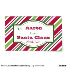 Personalized Santa Candy Gift Tag Stickers