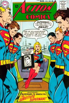 Supergirl on the cover of Action Comics by Neal Adams.