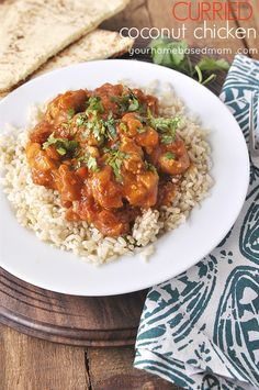 This delicious curried coconut chicken is easy to fix and so flavorful! Indian Food Recipes, Asian Recipes, Healthy Recipes, Free Recipes, Healthy Meals, Delicious Recipes, Yummy Food, Turkey Recipes, Chicken Recipes