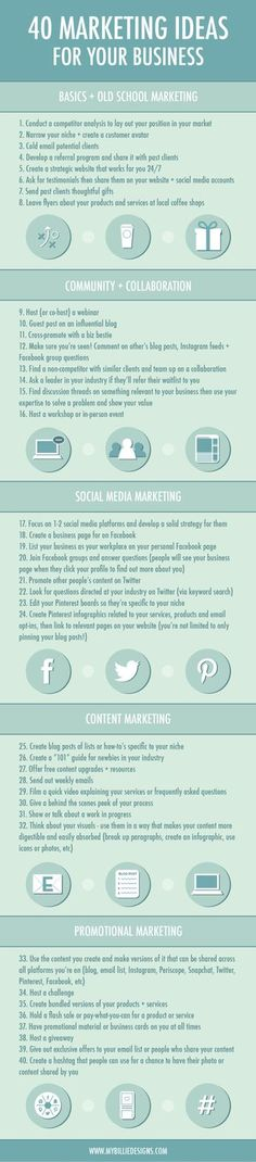 40 Marketing Ideas for Your Small Business #Infographic